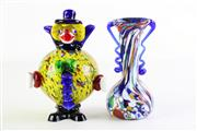 Sale 8860 - Lot 54 - Murano glass clown (H18cm) together with a small vase (H15cm)