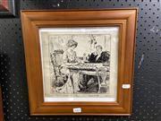 Sale 8906 - Lot 2060 - W Dewar - Couple, Ink On Paper - Dated 1913