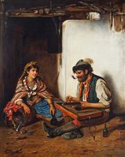 Sale 9021 - Lot 601 - Ernest Novelli (C19th Italian School) - Spare Moments 52 x 42 cm (frame: 73 x 62 x 7 cm)