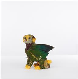 Sale 9221JM - Lot 5012 - EMILY BULLOCK Untitled, 2007 (Parrot Dog) resin and bird feathers h.25, l.22 , w.13 cm signed and dated to base
