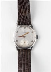Sale 8770 - Lot 71 - A Vintage Omega Wristwatch; frosted dial, subsidiary seconds, 17 jewel cal. 260 manual movement, stainless steel back, case diam. 33...
