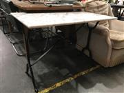 Sale 8787 - Lot 1050 - Rectangular Waterproofed Marble Top Table on Iron Base (H: 72 L: 100 W: 60cm)