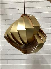 Sale 9092 - Lot 1088 - A vintage brass pendant light, made in Denmark (h:30cm)