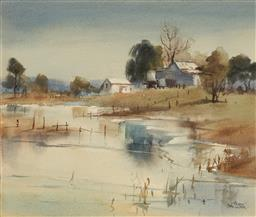 Sale 9099A - Lot 5087 - Alison Faulkner ( 1918 - ) - Autumn Morning at Windsor, Hawkesbury River 30 x 36 cm (frame: 47 x 54 x 2 cm)