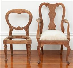 Sale 9134H - Lot 94 - Two vintage timber apprentice chairs, Height of back 50cm