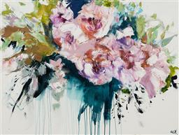 Sale 9150 - Lot 517 - CHERYL CUSICK Posy in Park acrylic on canvas 91 x 123 cm signed lower right