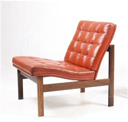 Sale 9252AD - Lot 5051 - GJERLOV-KNUDSEN MODULINE CHAIR FOR FRANCE & SONS, 1960s: ergonimically designed, original red/brown leather and Brazilian Rosewood f...