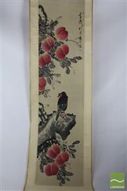 Sale 8508 - Lot 71 - Chinese Scroll Depicting Bird and Peaches ( L 195cm x W 45cm)
