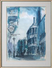 Sale 8595A - Lot 92 - Tom Lance - Paris Street Scene 37 x 27cm