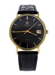 Sale 8660A - Lot 67 - A fine vintage mens Omega de Ville wristwatch; automatic movement with black dial and in gold plated case, 34 mm, restored and runn...