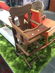 Sale 8676 - Lot 1393 - Timber Metamorphic High Chair (some restoration needed)