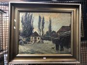 Sale 8797 - Lot 2033 - European School - Winter Scene, oil, SLR, 46x57cm