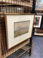 Sale 8891 - Lot 2036 - Artist Unknown - Mountain Scene with Travellers watercolour 33 x 38cm (frame)