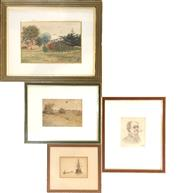 Sale 9058 - Lot 2060 - Various artists (4 works); 3 watercolour paintings; pencil and etching; 35 x 42 cm.