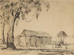 Sale 9096A - Lot 5100 - Douglas Pratt (1900 - 1972) - Cottage & Horse in Paddock, 1938 24 x 34 cm (frame: 50 x 58 x 3 cm)