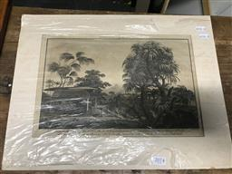 Sale 9113 - Lot 2074 - C18th Engraving View in the Island of Huaheine 34 x 45cm (unframed)