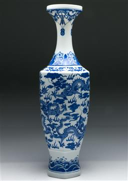 Sale 9153 - Lot 98 - A large egg shell porcelain vase with dragon motif (H: 52cm)