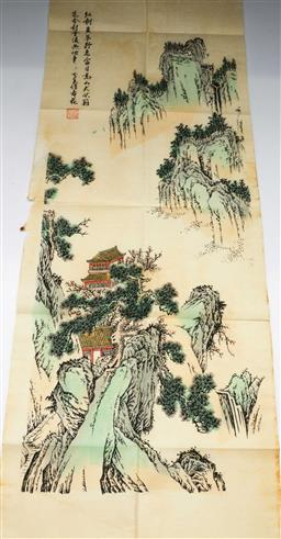 Sale 9153 - Lot 38 - A Chinese work on paper river and mountain scene in folder