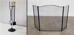 Sale 9191 - Lot 1076 - Metal fire tools with screen (h:81cm)