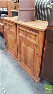 Sale 8404 - Lot 1086 - Pair of Rustic Timber Bedsides with Single Drawer & Door