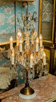 Sale 8448A - Lot 85 - French Louis XV style bronze 12 branch 2 tier girandole featuring routed marble base, handcut pointed pendants and 3 sided pointed f...