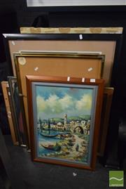 Sale 8497 - Lot 2052 - Group of Assorted Framed Works incl Horse Racing Photgraphs, Original Acrylic Paintings, etc (8)