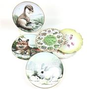 Sale 8545N - Lot 186 - A Collection of Cabinet Plates including Staffordshires Wildlife in Winter
