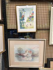 Sale 8730 - Lot 2071 - 2 Works: Lisa Forell - Beach Print, 131/150, SLR & Maria Antonia - House by the Lake, watercolour, SLR