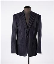 Sale 8770F - Lot 86 - A Hugo Boss navy and white virgin wool pinstriped blazer jacket, size US 42R