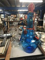 Sale 8818N - Lot 666 - Eastern Blue Glass Decanters Together With A Clear Glass Examples