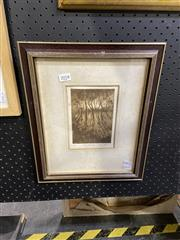 Sale 8888 - Lot 2018 - Gary Baker The Hillsideetching and aquatint ed. 4/7, 37 x 30cm (frame), signed -