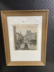 Sale 8995 - Lot 2070 - King Street Sydney in c1886, hand-coloured engraving, 40x30cm (frame)