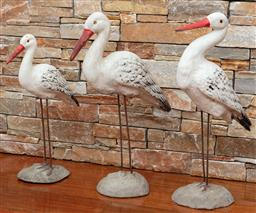 Sale 9134H - Lot 4 - Three French graduated concrete based seagulls, Tallest 60cm, Ex: Parterre Garden.