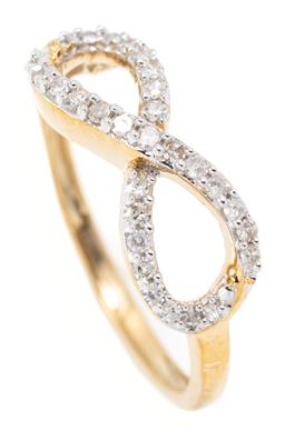 Sale 9169 - Lot 382 - A 10CT GOLD DIAMOND INFINITY RING; set with 30 single cut diamonds, size N1/2, width 6.6mm, wt.2g.