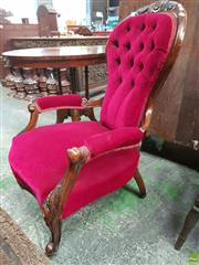 Sale 8559 - Lot 1052 - Victorian Carved Walnut Gentlemans Armchair, upholstered in red buttoned velvet & on cabriole legs