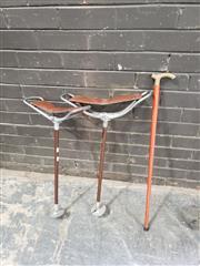 Sale 8962 - Lot 1017 - Pair of Shooters Sticks & Walking Stick (L:85cm)