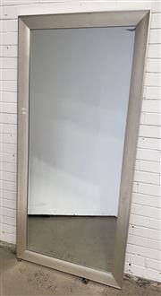 Sale 9080 - Lot 1036 - Large silver framed mirror with bevelled edge (h: 194 x w:93cm)