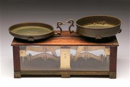 Sale 9110 - Lot 12 - Cased set of antique scales (L:43cm H:20cm W:19cm), (No weights)