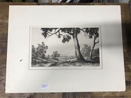 Sale 9113 - Lot 2075 - Ernest Abbott Gully Dam etching 31 x 41cm (frame) signed