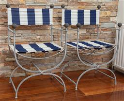 Sale 9134H - Lot 54 - A pair of X base Savonarola iron chairs, striped upholstery, Height of back 88cm