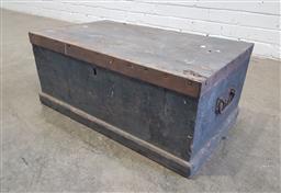 Sale 9146 - Lot 1091 - Antique Pine and Iron Carpenters Chest (H: 29 x W: 68 x D: 39 cm)