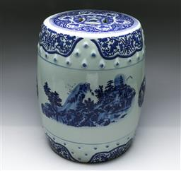 Sale 9156 - Lot 24 - A Chinese blue and white drum stool (H:40cm)