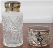 Sale 8595A - Lot 95 - Two Edwardian sterling silver and tortoiseshell topped toiletry bottles, tallest 17cm, Birmingham made for Farmer, Sydney