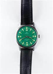 Sale 8770 - Lot 75 - A Vintage Omega Seamaster 600 Wristwatch; in stainless steel with green dial, centre seconds, 17 jewel cal. 613 manual movement, adj...
