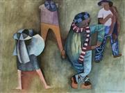 Sale 8839A - Lot 5029 - Dorothy Braund (1926 - 2013) - Striped Scarf, 1989 36 x 46cm