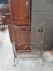 Sale 8868 - Lot 1094 - Ornate Brass Fire Screen, with metal mesh, surmounted by scroll work