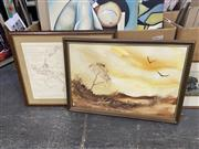 Sale 9004 - Lot 2096 - French map of Australia, published by the Royal Australian Historic Society, 1981, with Australiana 1970s painting, and reproductio...