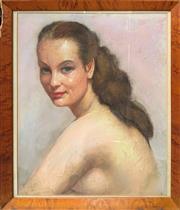 Sale 9041 - Lot 2006 - Artist Unknown The Brunette, pastel on paper (AF), frame: 50 x 43 cm), initialled R lower left