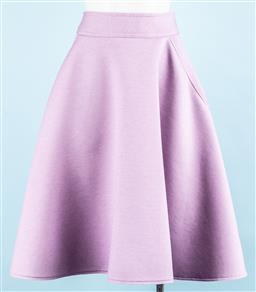 Sale 9091F - Lot 27 - A KAREN WALKER MAUVE CIRCLE SKIRT; having two front pockets, size UK8 US 4