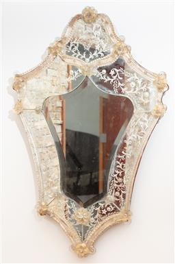 Sale 9134H - Lot 5 - A Venetian mirror with glass flowers and rondels, Height 58cm x Width 34cm